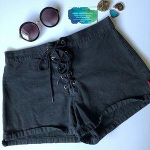 Vintage lace up black jean shorts